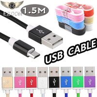 Wholesale usb c adaptor - HOT Sale Braid 1.5M 5FT Type-c Micro V8 Android USB Data Charging Cable Cord Cables Sync Data Adaptors Galaxy S8 s7edge