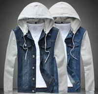 Wholesale Long Sleeve Vest For Men - Hat Detachable Blue Mens Hooded Jean Jacket Coat Single Breast Long Sleeve Casual Denim Jeans Jacket For Men