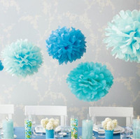 "Wholesale Colorful Tissue Paper Flower Ball - 100pc Colorful Tissue Paper Flower Ball Tissue Paper Pom Poms 14"" 35cm for Wedding Birthday christmas mother's day Party Decoration J116"