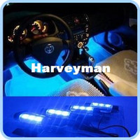Wholesale Decorative Car Interiors - 4x 3 LED Blue Car Auto Charge interior light 4in1 12V Glow Decorative Atmosphere Lights Lamp