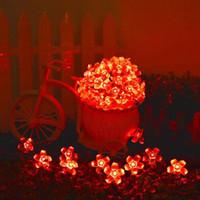 ip65 garden led solar power fairy string lights 7m 50 led peach blossom decorative garden lawn