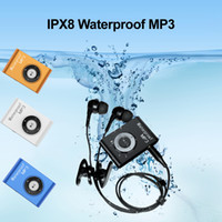 buceo en mp3 al por mayor-IPX8 Impermeable 8GB Mini Clip Reproductor de MP3 Música Submarino Natación Buceo Deportes Portátil 4GB con Radio FM Reproductor multimedia de sonido estéreo
