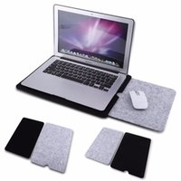 Wholesale Felt Protector Pads - VBESLIFE New 11 13 15 inch Felt Laptop Sleeve Case Bag Pouch + Mouse Pad For Macbook Air Pro Retina Protector Case Free Shipping