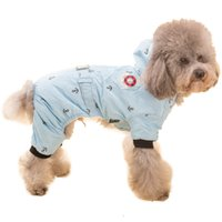 Wholesale Dog Cat Clothes Overalls - Navy Style Pet Dog Thick Winter Warm Hooded Clothes Jacket Dog Coat Jumpsuit Overalls 4 Legs Costume Apparel for Small Large Dogs Cats