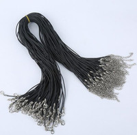 300pcs Black Wax Line Colar Pingente Encantos Cord Beads Corda Lobster Clasp Strap Rope 1.5mm, 18inch TOP1605