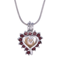 Pretty Heart With Red Stone Pearl Cage Pendant Oyster Lockets para DIY Wish Love Pearl Necklace