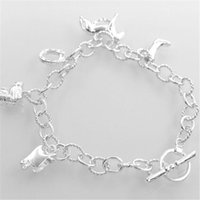 Wholesale sterling horse jewelry resale online - 925 Sterling Silver Plated Charm Bracelets Bangle Hanging Horse Bangle for Ring Chain Women Statement Jewelry Christmas Gift