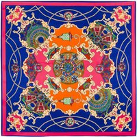 Wholesale French Scarves - Wholesale-100cm*100cm 100% Twill Silk Euro Brand French design Night sky Hofgarten palace garden Printed Women Square Silk Scarves 3101