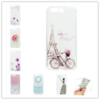 Wholesale Cover Huawei Butterfly - Transparent TPU Cover For Huawei P10 Plus Case Colour decoration Tower bike Butterfly Girl Design Phone Case