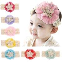 Wholesale Crochet Flower Hairbands - Bebe Crochet knitted chiffon flower Headbands Newborn baby girls lace bowknot 4.5cm hairbands Kids Infant children hair accessory SEN072