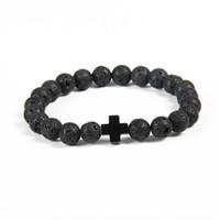 steinkreuzperlen großhandel-Neue Design Armband Großhandel 10 teile / los 8mm Beste Qualität Lava Stein Perlen mit Hämatit Royal Cross Jesus Armbänder