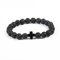 Wholesale Quality Cross Bracelet - New Design Bracelet Wholesale 10pcs lot 8mm Best Quality Lava Stone Beads with Hematite Royal Cross Jesus Bracelets