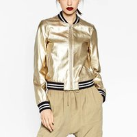 Wholesale Ladies Pu Jackets - Wholesale- New 2016 Fashion Women Za Bomber Jacket Casual Ladies Golden Silver Color Short CoatChaquetas Mujer