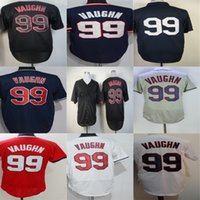 Wholesale Free Cool Logos - Free Shipping Wholesale Cleveland 99 Rick Vaughn White Blue Red Black Grey Flex Cool Best Embroidery Logos Baseball Jerseys Can Mix Order