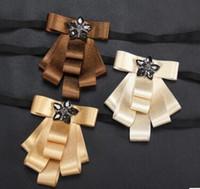 Wholesale Ribbon Spots - Wholesale spot han edition dress men ribbon double wedding the groom wedding highlight ribbon bow tie