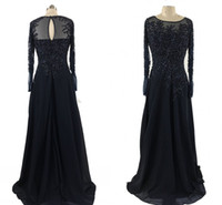 Wholesale chiffon dreses - 2017 Real Image Mother Of Bride Dresses Long Sleeves Lace Appliques Crystal Beads Floor Length Navy Blue Chiffon Bride Wedding Guest Dreses