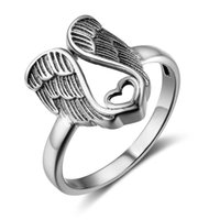 Wholesale Vintage Wing Ring - Size 6 7 8 Vintage Angel Wings Genuine 925 Solid Silver Rings For Women Fashion Love Rings