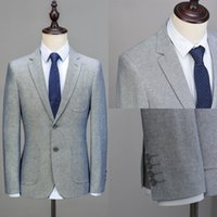 Wholesale Long Coats For Men Images - One Pieces High Quality Custom Made Men's Clothing Suprem Light Grey Jacket For Men Long Sleeve Blazer Men Coat Groomsmen Suits
