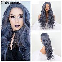 peluca rizada azul oscuro al por mayor-Peluca rizada larga Peluca delantera de encaje sintética resistente al calor, azul gris oscuro, gris oscuro para mujer En Stock (Color: Azul)