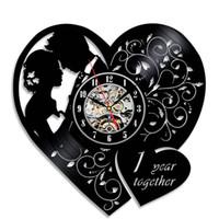 Wholesale Wedding Gifts Wall Clocks - 1ST Wedding Anniversary Gift Creative Vinyl Wall Clock