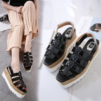 Wholesale Strappy Wedges Sandals - Fashion platform wedge sandals women gold black hollow out T strappy mid heels shoes 7cm
