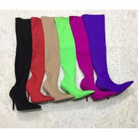 Wholesale Thinnest Fabrics - 2017 New Fashion Brand Thigh High Boots Women fabric stretch boots thin high heels pointed toe Sexy Over Knee Boots Ladies Autumn Shoes L02