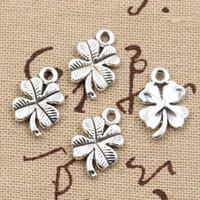 Wholesale vintage irish - Wholesale-30pcs Charms lucky irish four leaf clover 17*19mm Antique charms pendant fit,Vintage Tibetan Silver,DIY for bracelet necklace