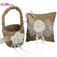 Wholesale Floral Ring Pillow - 2Pcs set Jute Burlap Wedding Ring Pillow Flower Basket with Floral Lace Ribbon Rustic Flower Girl Basket for Wedding Decoration <$16 no trac
