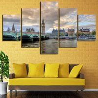 pintura a óleo grande ben venda por atacado-5 Pçs / set Emoldurado HD Impresso Big Ben Londres Imagem Da Parede Impressão Cartaz Pintura A Óleo Da Lona Cuadros Decorativos