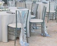 Wholesale Silver Char - Silver Sequins Wedding Char Sashes Glitz Chiavari Chair Sashes Wedding Celebration Party Event Decoration 200*25 cm Custom Made