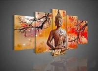 paneles de paisajes de petroleo al por mayor-Enmarcado en 5 paneles, arte de pared, religión, buda, pintado a mano puro, moderno, decoración de pared, paisaje, pintura al óleo sobre lienzo. Tamaño múltiple disponible DHworl