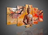 modern yağlı boya tablaları toptan satış-Çerçeveli 5 Panel Duvar Sanatı Din Buda, Saf El Boyalı Modern Duvar Dekoru Peyzaj Sanat Yağlıboya Tuval Üzerine. Çok Boyutu Mevcut DHworl