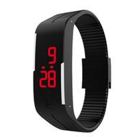 Wholesale Digital Wrist Watches Womens - 2017 Wholesale Fashion Mens Womens Rubber LED Watch Date Sports Bracelet Digital Wrist Watch as Gift