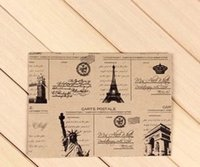 Wholesale Vintage Paper Towel - Wholesale- 10pcs Lot 152*107mm Vintage Style Vintage Eiffel Towel Envelope Europea Retro Style Leather Decration Paper Card Tower Freedom