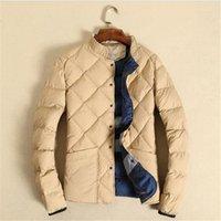 Wholesale Windbreaker Button Down - Winter Men Down Coats Thick Jacket Gray Navy Khaki Warm Men M-5XL Pluse Size Windbreaker Outerwear