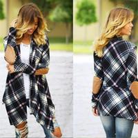 Wholesale Ladies Cloak Cotton - Autumn Winter New Women's Long Knit Stitching Loose Woolen Coat Ladies Jacket Lapel Neck Windbreaker Cloaks Long Sweater Women Long Coat