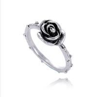 925 thailand großhandel-Mode 925 Silber Zubehör einzigartige Rose Thailand Sterling Silber Retro Ringe kompatibel mit Pandora Charm Schmuck für Frauen