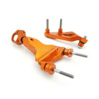 Wholesale Bracket Cnc - Super quality CNC Aluminum Orange Alloy Accessories Motorcycle Steering Damper Bracket Kit For KTM DUKE 125 200 390 13-15