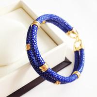 Wholesale Halloween Thailand - Beichong Classic Genuine Blue Stingray Double Strap Bracelet Bangle Original Thailand Stingray Bracelet for Men Jewelry