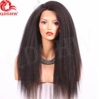 düz yaki insan saç perukları toptan satış-360 Tam Dantel İnsan Saç Peruk Öncesi Mızraplı Kinky Düz Virgin Brezilyalı Saç Tutkalsız İtalyan Yaki 360 Dantel Frontal İnsan Saç Peruk