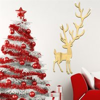 Wholesale Stick Mirror Decorations - 3D mirror wall stickers kids Christmas Creative Home Decor DIY Removable silver cartoon deer Decoration Sticker 2017 wholesale Free delivery