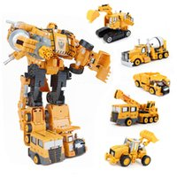 Wholesale Transformation Truck Toy - Transformation Cars Toys excavator truck Toys Plastic Engineering Vehicles Assembly Construction For Kids model toy car gift