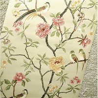 Wholesale green tree wallpapers - Wholesale-Birds Trees Flowers Chinoiserie Wallpaper roll rof rolls Birds Tree Blossom Statement 3D Wall Paper Roll For Background Wall