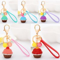 Wholesale Carabiner Keychain Strap - 2017 New Originality Cake with candy Beads and PU Leather Wrist Strap Metal Keychain Keyring Car Keychains Purse Charms Handbag Pendant