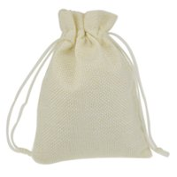 Wholesale Nylon Recycling Bag - Wholesale- 9.5x13.5cm White Custom Jute Drawstring Pouch Gift jewelry package bags Stylish Natural Burlap with Nylon Drawstring Reusable