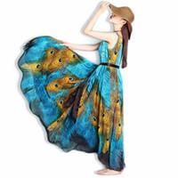 ingrosso stampa di pavone in chiffon-Summer Women Bohemian Beach Dress Abito in Chiffon di seta con pavone stampato Vestidos Plus Size Abito lungo maxi Abito