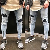 Wholesale Wholesale Capris Jeans - Wholesale- Vintage Men's Hole Slim Fit Jeans Black Distressed Ripped Skinny Pants Button Zipper Pencil Jeans Lighe Wash