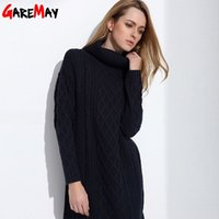 Wholesale Knitted Sweater Dress For Women - GAREMAY Women Sweater Turtleneck Pullover Women Sweater Dress Long Sweaters 2017 Spring White Casual Clothes For Women S061