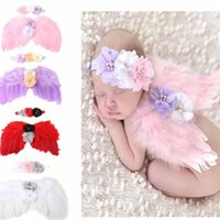 Wholesale Kids Feather Headdress - Baby Angel Wings With Chifffon Headband Pearl Hair Flowers Feather Headdresses For Toddler Kid Infant Photography