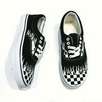 Wholesale Flame Fabrics - Hot Classics Black White Flame Skateboard Shoes Women Mens Old Skool Fashion Brand Designer Casual Canvas Rock Sneakers 36-44